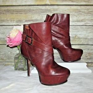 Rachel Zoe Brown Leather Buckle Ankle Booties
